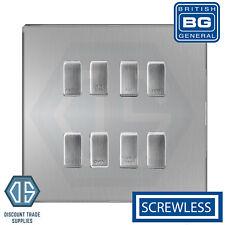 BG Brushed Steel Screwless Custom Grid Switch Panel Kitchen Appliance 8 Gang