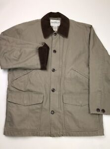 Norm Thompson Mens Canvas Barn Coat Chore Jacket Size Large Beige Corduroy Trim