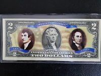 LEWIS AND CLARK COLORIZED US Two $2 Dollar Bill