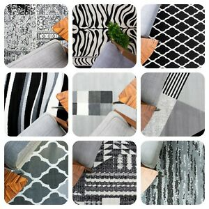 Black Grey Living Room Rugs Modern Small Large Geometric Rugs Long Hall Runners