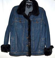 Dennis Basso Blue Cotton Denim Womens Jean Jacket with Faux Black Fox Fur Size M