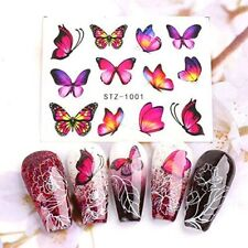 30 Sheets Butterfly Nail Art Stickers,Water Transfer Nail Decals for Nail Supply