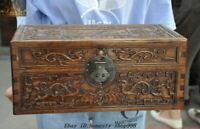 "16"" Chinese Huanghuali Wood Carved Dragon Bat Peach storage box Treasure chest"