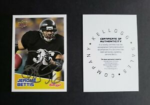 Jerome Bettis signed Pittsburgh Steelers 2008 Upper Deck Kelloggs football card