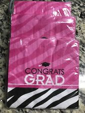 Zebra Party Pink Congrats Grad Theme Party Paper Luncheon & Beverage Napkins Lot