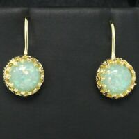 2 Ct Blue Australian Opal Earrings Women Wedding Jewelry 14K Yellow Gold Plated
