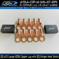 "10 2/0 Gauge Copper 1/2"" Ring Terminal Lug Battery Connector Stinger Heat Shrink"