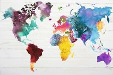 WORLD MAP IN WATERCOLOUR POSTER (91x61cm)  NEW WALL ART WATERCOLOR