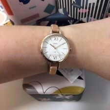 NWT 🌼 Fossil ES4361 Women's Annette Slim Beige Leather Band Silver 30mm Watch