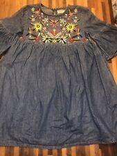 Zara Girls Denim Embroidered Dress Age 8 Excellent Condition