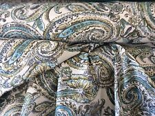 PAISLEY TEAL GRAY AQUA LIME UPHOLSTERY FABRIC