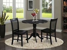 3pc dinette kitchen dining set round table with 2 wood seat chairs in black