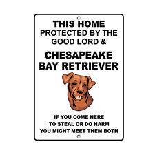 Chesapeake Bay Retriever Dog Home protected by Good Lord and Novelty Metal Sign