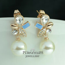 18K Rose Gold GP Fashion Pearl Stud Earrings Made With Swarovski Crystals