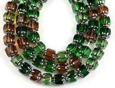 25 PCS Cathedral Topaz Green Silver Glass Fire Polished Faceted Loose Beads  6mm