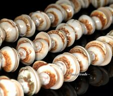 SPIRAL SHELL GEMSTONE BROWN CREAM SPIRAL SWIRL CORKSCREW 15X7MM LOOSE BEADS 7""