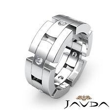 8.5mm Wedding Round Cut Diamond Band Mens Block Link Ring 18k White Gold 0.35Ct