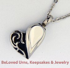 """Black and White Heart Cremation Jewelry Keepsake Urn Pendant With 20"""" Necklace"""