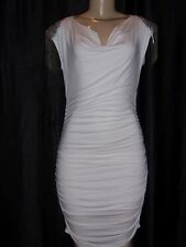 Castings white cocktail dress silver beaded shoulder Made in France Size 2  NWT