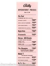 BALLY BINGO PINBALL MACHINE & ARCADE GAME PRICE LIST 3/15/56 NIGHT CLUB MODEL T