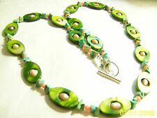 "Spring Green Mother of Pearl, Pink F/W Pearls,Coral Beads&MagnesiteChips28"" NWOT"