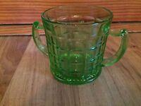 Vintage Green Depression Optic Block Sugar Dish