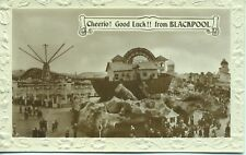 Cheerio Good Luck from Blackpool Noah's Ark Maxims Flying Machine 1920s postcard