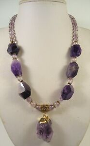 Lee Sands Wacky Friday Amethyst Shard w Faceted Amethyst Nuggets & AAA Beads