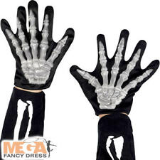 Skeleton Gloves Kids Fancy Dress Halloween Bone Childrens Costume Accessory New