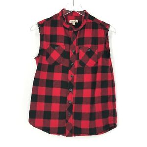 Cherokee Flannel Vest Boys Large 12/14 Red Black Plaid ALTERED Sleeveless Top