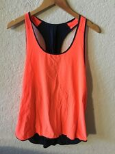 Lululemon Pump It Up Tank Top Singlet Flare Orange Inkwell Blue Size 12