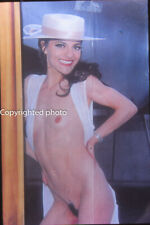 Vintage photo slide - pretty nude woman with hat - magazine pin up