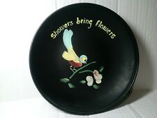 """VINTAGE HAND PAINTED BIRD WALL HANGING PLATE FROM THE MID CENTURY 8 1/4"""""""