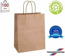 New 100pcs 7.9*4.3*10.6'' Kraft Paper Bag Shopping Gift Bags with Handles Small