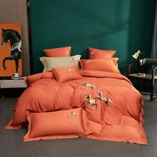 Luxury Embroidery 60S Egyptian Cotton Bedding Set Quilt Cover Queen King Size
