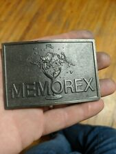Vintage MEMOREX Stereo Glass Shattering Tape Musician Producer Belt Buckle RARE
