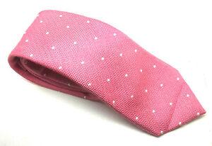 "Men's Tie MOSS Blue Pink White Polka Dot Silk Cotton Blend 3"" Width 62"" Long"