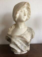 sculpture en marbre et albâtre signée PUGI, vers 1900 buste de femme statue