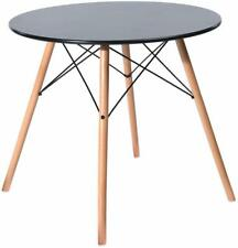 EGGREE Round Dining Table Wooden Table Retro Kitchen Table Home Office Black φ80