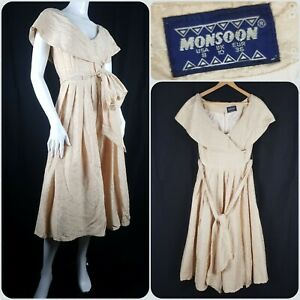Vintage Monsoon Pure Silk Gold Broderie Dress Hollywood Fit & Flare Noir Size 10