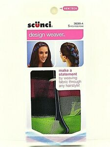 Scunci Design Weaver 5 Pieces Green Set Weave Fabric Through Hair Like A Pro New