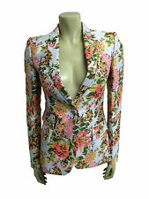 Floral Single Breasted Blazers Hip Length Women's Coats & Jackets