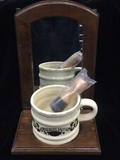Vintage Mirror Shave Kit With Brush and Mug Barbers Saloon Wooden Gold Trim Set