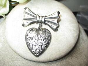 396 - ESTATE CHATELAINE BOW & DROP HEART SWEETHEART PENDANT BROOCH