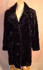 Tally Do Outerwear Women Black Faux Fur Winter Coat size PM NWOT
