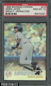 1999 Bowman Chrome Impact Refractor Derek Jeter New York Yankees HOF PSA 10