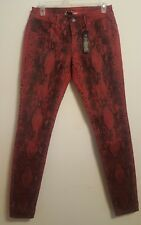 VS Siren Python Snake Skinny Denim Jeans Pants Red Black Size 6 Victorias Secret
