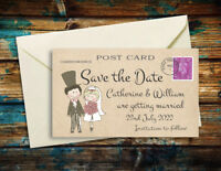 SAVE THE DATE MAGNETS Cute Couple Personalised Wedding Magnets + Envelopes