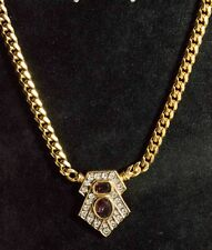 Purple and Clear Diamante Deco Style Gold Tone Necklace