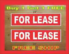 """White on Red FOR LEASE 6""""x24"""" REAL ESTATE RIDER SIGNS Buy 1 Get 1 FREE 2 Sided"""